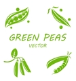 flat green peas icons set vector image