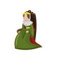 majestic queen in golden crown sitting on wooden vector image