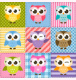 patchwork background with colorful funny owls vector image