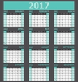 Calendar 2017 week starts on Sunday green tone vector image