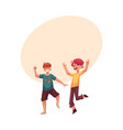 two funny boys kids having fun dancing at party vector image