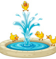 Ducks and fountain vector image vector image