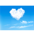 Blue sky with hearts shape clouds Valentines vector image vector image