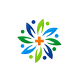medical green abstract flower logo vector image vector image