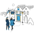 Town with girls silhouette vector image vector image