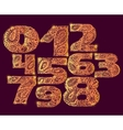 Numbers gold decorative set with a paisley filling vector image