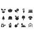 Black Different Plants and gardening Icons vector image