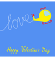 Cartoon helicopter word LOVE Valentines Day vector image