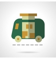 Green camper flat color design icon vector image