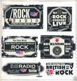 Rock music banner set vector image