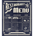 Vintage restaurant menu vector image