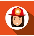 woman firewoman helmet icon vector image