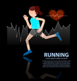 woman running healthy lifestyle figure with hear r vector image