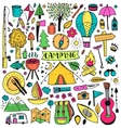 Camping doodle set vector image