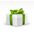White Gift Box with Light Green Ribbon Isolated vector image