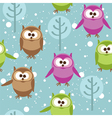 seamless pattern with cute cartoon owls vector image vector image