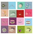 Modern flat icons with shadow fast food vector image