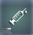 syringe icon On the blue-green abstract background vector image