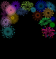 Colorful Fireworks frame on black background vector image