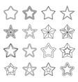 set flat black line star icons vector image