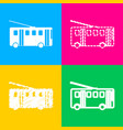 trolleybus sign four styles of icon on four color vector image