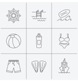 Surfboard swimming pool and trunks icons vector image