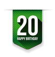 Twenty years happy birthday ribbon vector image