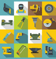 metal working icons set flat style vector image