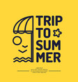 Poster with the text trip to summer beach vector image