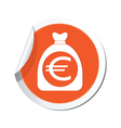 moneybag euro icon orange label vector image vector image