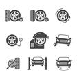 tire wheel service black icons set vector image vector image