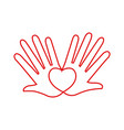 hands love heart romantic linear concept vector image
