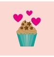 heart cartoon cupcake chip star chocolate icon vector image