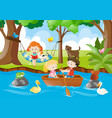 kids relaxing in the park vector image
