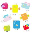 Set of cute square cartoon birds vector image