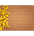 autumn tree branch on weathered wooden background vector image vector image