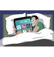 Smartphone in bed vector image vector image