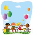 Children playing musical instruments vector image