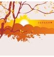 China landscape with mountains and tree branch vector image
