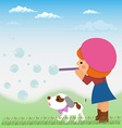 Cartoon little girl inflates soap bubbles next to vector image