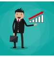businessman showing raising arrow growing graph vector image