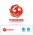 fire bird logo phoenix bird brand identity vector image
