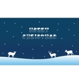 Merry Christmas landscape with deer winter vector image