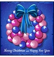 Wreath of pink Christmas balls and blue bow vector image
