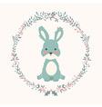 Cute baby bunny rabbit in Christmas flower vector image