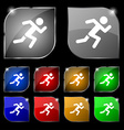 simple running human icon sign Set of ten colorful vector image