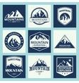 Mountain travel outdoor adventures logo set vector image