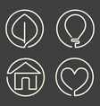 set of continuous bold line logo on dark grey vector image vector image