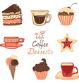 Tea coffee and dessert icons vector image