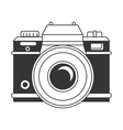 Vintage photographic camera in black and white vector image